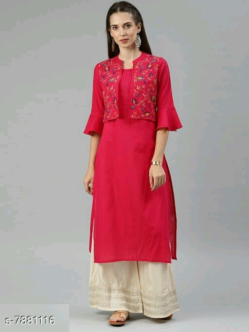 Women's Solid Kurti with Embroidered Jacket