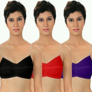 Fancy Hosiery Non Padded Bras (Pack of 3)