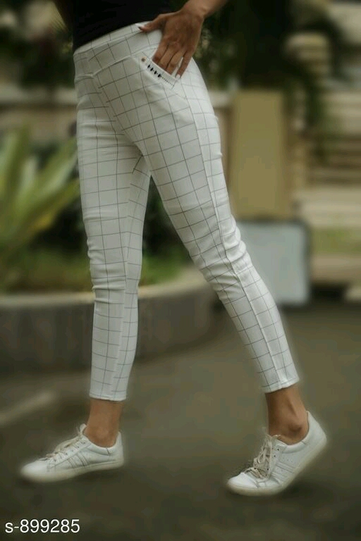 Stella Imported Lycra Girls Checkered Pants