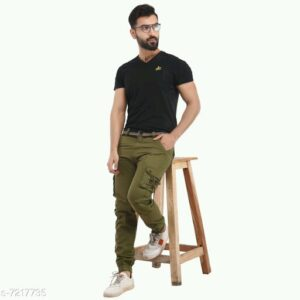 Trendy Men's Cargo Green Trousers