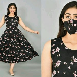 New Designer Girls Frock with matching Mask