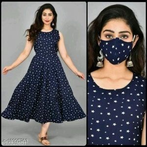 Women's indo western Dresses with matching Mask