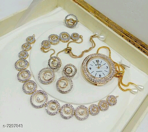 Beautiful Crystal Stone Silver Jewellery Sets for Girls