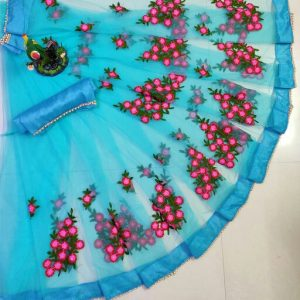 Indo Western Floral Net Saree Blouse