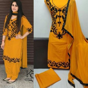 Cotton Embroidered Punjabi Suits and Dress Materials