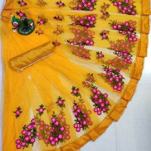 Indo Western Floral Net Saree with Blouse