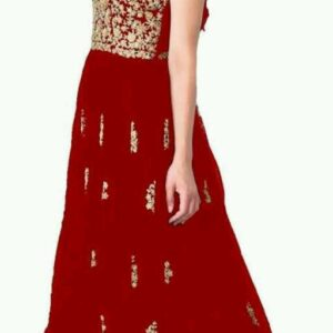 Embroidery Design Net Long Gown for Girls