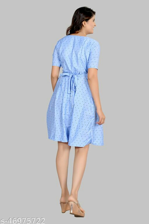 Printed Dotted Design Girls Frock Midi Dress